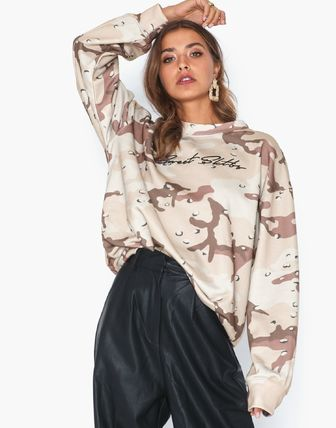 Crew Neck Pullovers Camouflage Unisex Sweat Street Style