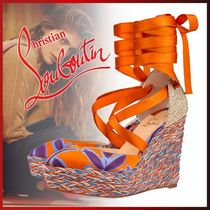 Christian Louboutin Flower Patterns Platform Casual Style Blended Fabrics