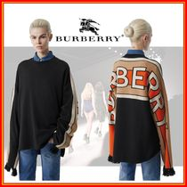 Burberry Crew Neck Stripes Cashmere Long Sleeves Cotton Cashmere
