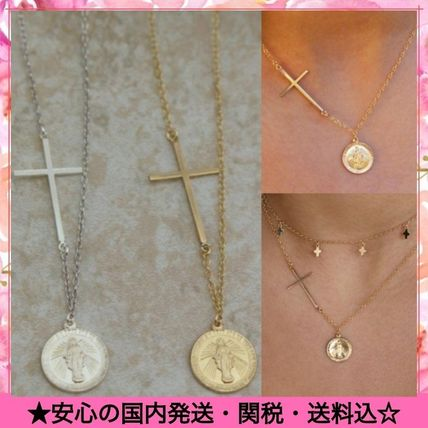 Casual Style Cross Coin Silver 14K Gold Elegant Style Bridal