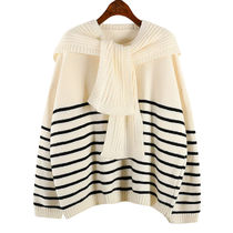 Cable Knit Stripes Casual Style Wool Peplum U-Neck