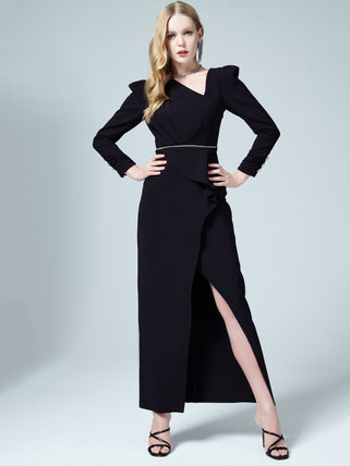 Long Sleeves Long Elegant Style Asymmetry Dresses