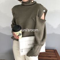 Short Casual Style Long Sleeves Plain Medium High-Neck