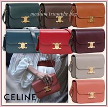 CELINE Triomphe Plain Leather Office Style Elegant Style Formal Style