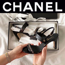 CHANEL ICON Open Toe Casual Style Street Style Chain Plain Leather