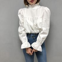Puffed Sleeves Plain Cotton Medium Elegant Style