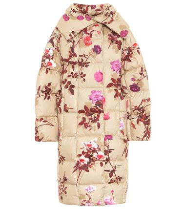 Flower Patterns Long Down Jackets