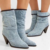 Isabel Marant Plain Leather Block Heels Ankle & Booties Boots