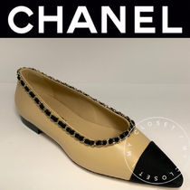 CHANEL ICON Casual Style Street Style Chain Plain Leather Handmade
