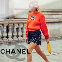 CHANEL Crew Neck Casual Style Wool Cashmere Long Sleeves Plain