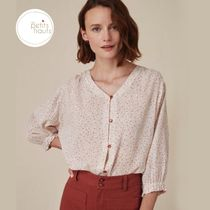 des petits hauts Dots Puffed Sleeves Cropped Cotton Medium Elegant Style