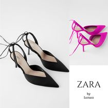 ZARA Lace-up Casual Style Plain Pin Heels Party Style