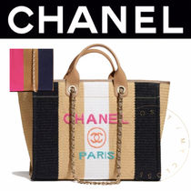 CHANEL DEAUVILLE Stripes Casual Style Calfskin Blended Fabrics Street Style