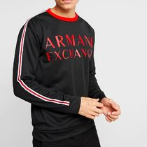 A/X Armani Exchange Crew Neck Pullovers Long Sleeves Cotton Tops