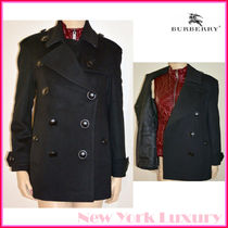 Burberry Casual Style Wool Plain Office Style Peacoats