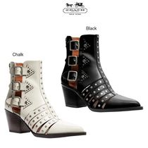 Coach Round Toe Plain Leather Block Heels Ankle & Booties Boots