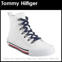 Tommy Hilfiger Stripes Platform Round Toe Rubber Sole Lace-up Casual Style