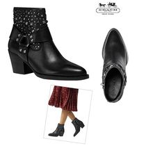 Coach Leather Block Heels Ankle & Booties Boots