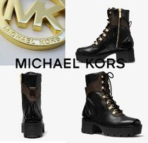 Michael Kors Monogram Platform Round Toe Rubber Sole Lace-up Casual Style