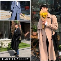 Stand Collar Coats Plain Long Parkas