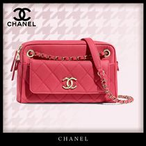 CHANEL Casual Style Calfskin 2WAY Chain Plain Leather Party Style