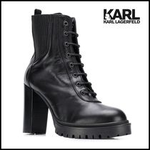 Karl Lagerfeld Casual Style Plain Leather Office Style Mid Heel Boots