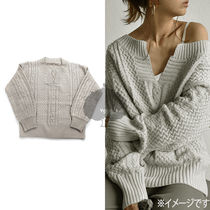 Cable Knit Casual Style Long Sleeves Plain Knitwear