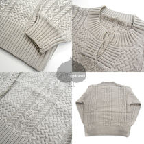 Cable Knit Casual Style Long Sleeves Plain Sweaters