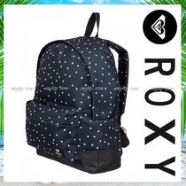 ROXY Dots Tropical Patterns Casual Style A4 Backpacks