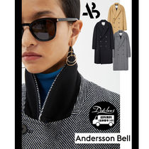 ANDERSSON BELL Stand Collar Coats Unisex Wool Cashmere Nylon Street Style