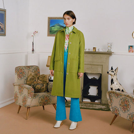 Stand Collar Coats Casual Style Wool Plain Long Party Style