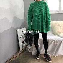 Crew Neck Cable Knit Casual Style Wool U-Neck Long Sleeves