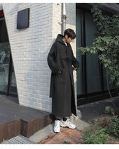 Stand Collar Coats Other Plaid Patterns Street Style Long