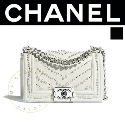 CHANEL Shoulder Bags Casual Style Calfskin Blended Fabrics Street Style 2WAY