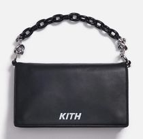 KITH NYC Street Style Chain Plain Leather Logo Handbags
