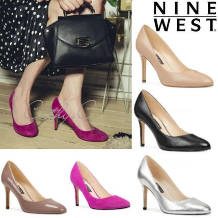 Nine West Round Toe Enamel Suede Plain Leather Pin Heels Party Style