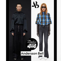 ANDERSSON BELL Other Check Patterns Casual Style Puffed Sleeves