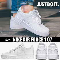 Nike AIR FORCE 1 Platform Round Toe Casual Style Blended Fabrics Street Style