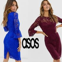 ASOS Crew Neck Tight Boat Neck Cropped Medium Party Style Lace