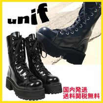 UNIF Clothing Platform Lace-up Casual Style Street Style Plain Leather