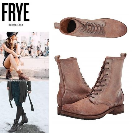 Lace-up Casual Style Suede Plain Lace-up Boots