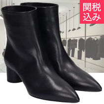 Jil Sander Plain Leather Block Heels Ankle & Booties Boots