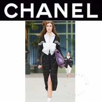 CHANEL ICON Stripes Casual Style Cashmere Street Style Long Sleeves Long