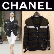 CHANEL ICON Stripes Casual Style Cashmere Street Style Long Sleeves