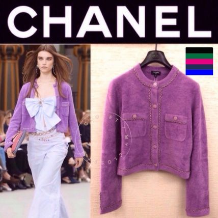 CHANEL ICON Short Casual Style Blended Fabrics Street Style Long Sleeves