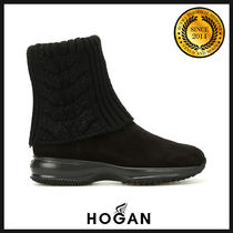 HOGAN Plain Leather Ankle & Booties Boots