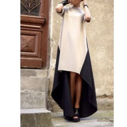 Casual Style Maxi A-line Blended Fabrics Flared Bi-color