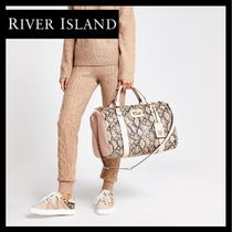 River Island Unisex Faux Fur A4 2WAY Python Oversized Boston & Duffles