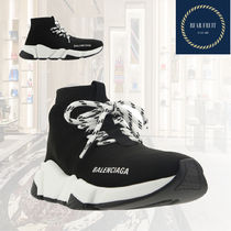 BALENCIAGA Rubber Sole Lace-up Casual Style Unisex Street Style