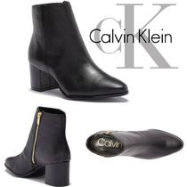 Calvin Klein Plain Leather Block Heels Party Style Ankle & Booties Boots